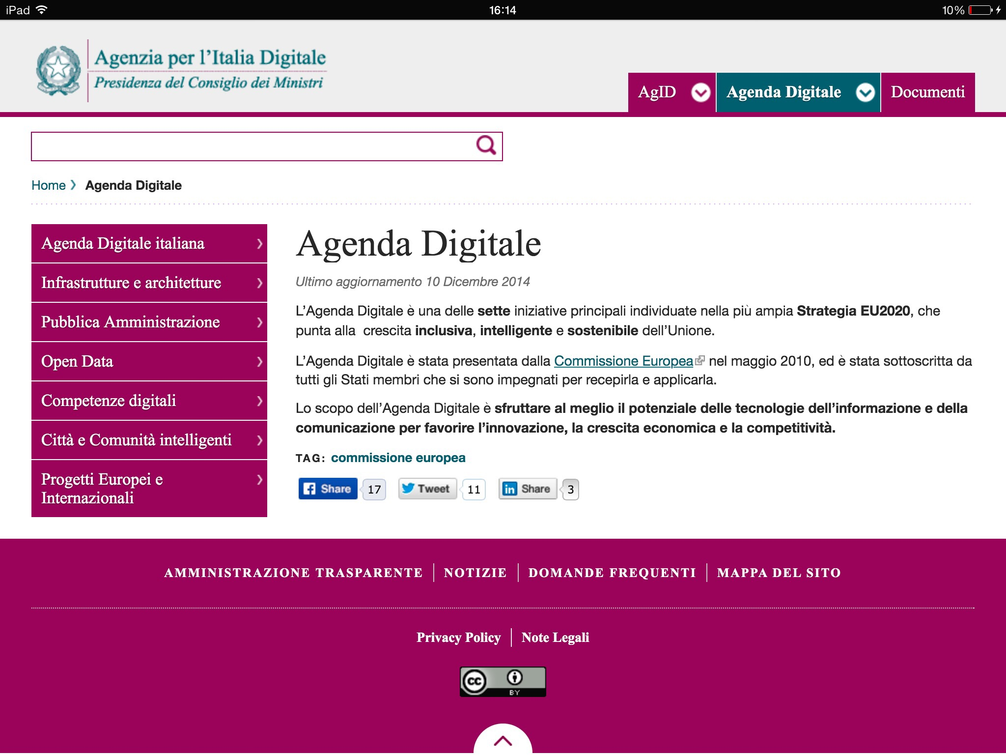 Sito web agenda digitale italiana