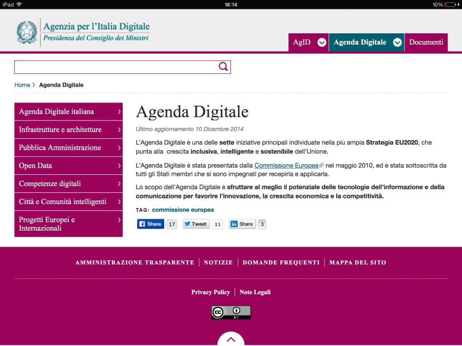 Sito web agenda digitale italiana
