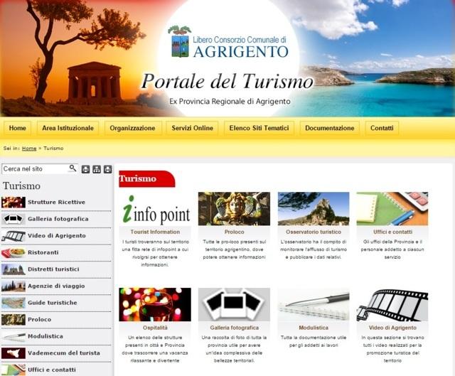 sessione del sito ex provincia AG dedicata al turismo