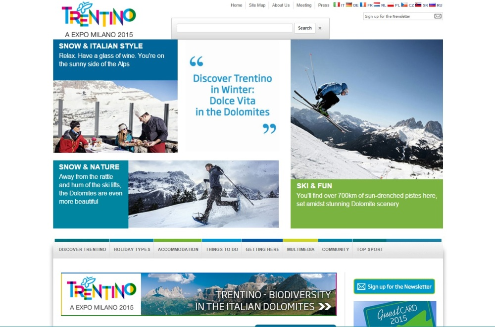 homepage del sito di destination marketing e marketing territoriale Visit Trentino