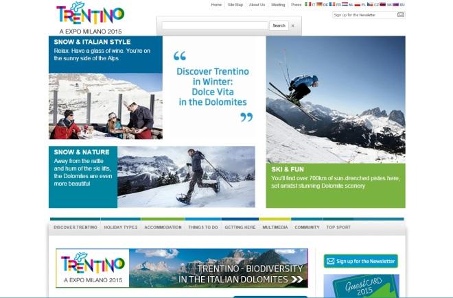 homepage del sito di destination marketing e marketing territoriale Visit Trentino