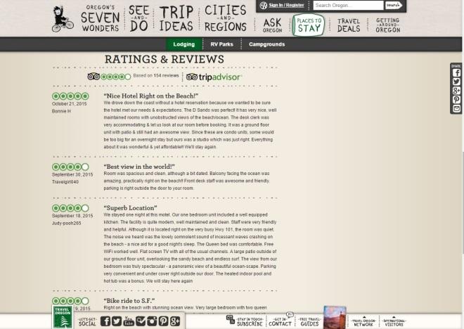 Integrazione dei commenti su tripadvisor sul sito di destination marketing Travel Oregon