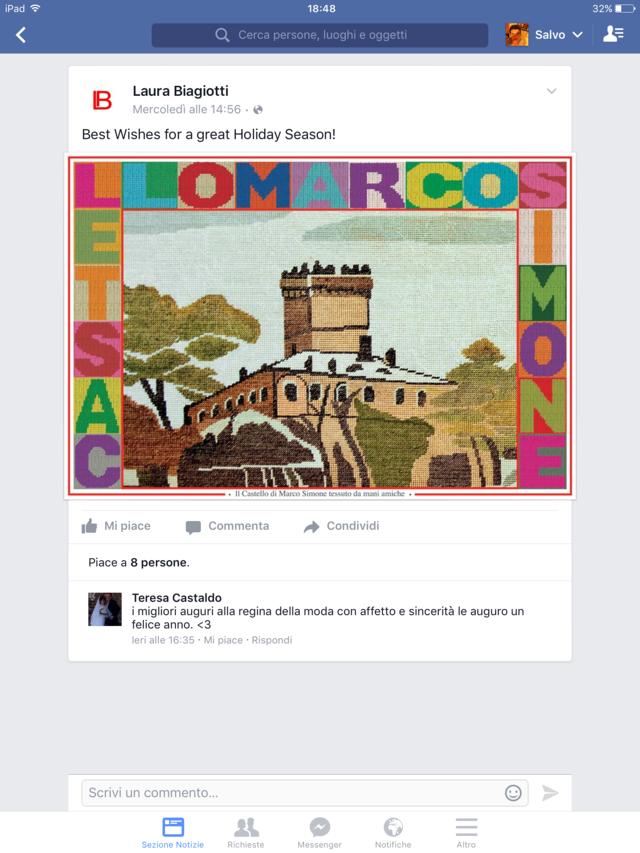 esempio di come non si dovrebbe snobbare un follower sincero su facebook e perdita nell'immagine derivante da questo Pagina facebook Laura Biagiotti 2015