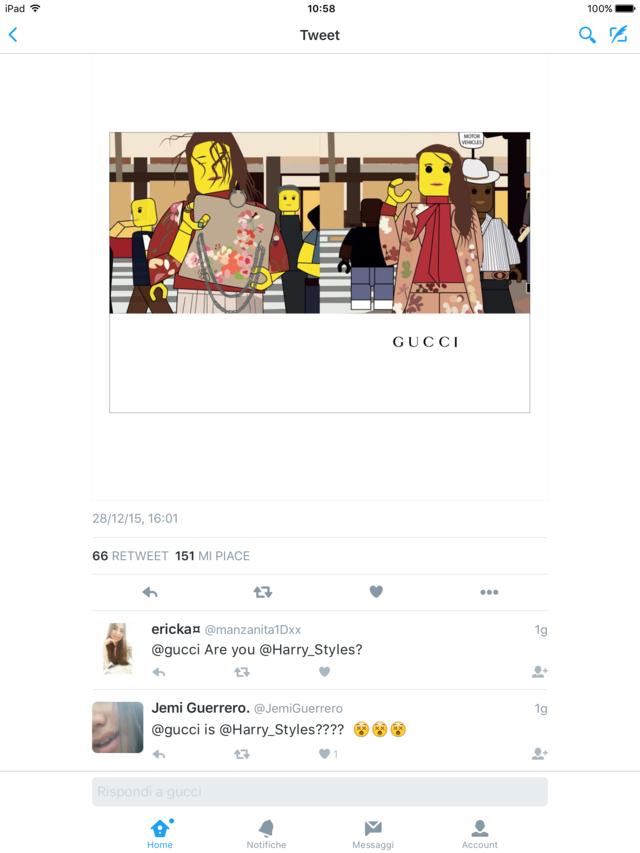 esempio di come non si dovrebbe snobbare un follower sincero su twitter canale social twitter Gucci 2015