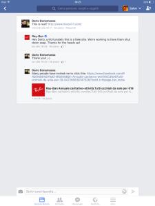 RAYBAN e la sua strategia di gestione delle crisi e customer service sui social network due. pagina ufficiale di facebook sesta immagine