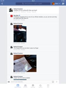 RAYBAN e la sua strategia di gestione delle crisi e customer service sui social network. pagina ufficiale di facebook