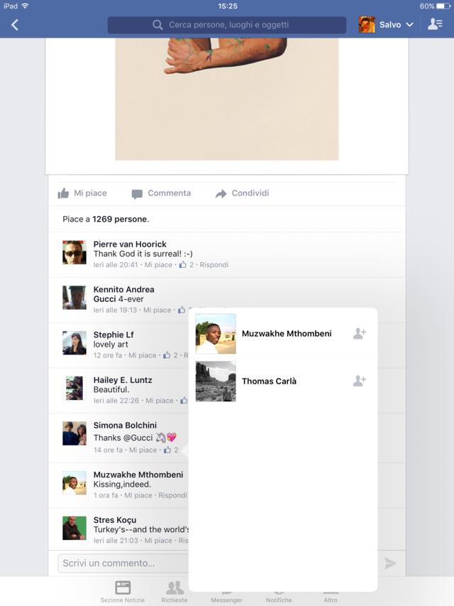 secondo esempio negativo di gestione dei canali social pagina Facebook Gucci 2015 (FILEottimizzato)