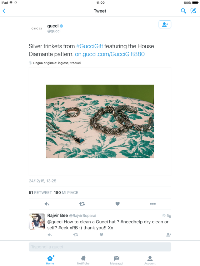 secondo esempio negativo di gestione dei canali social pagina twitter Gucci 2015