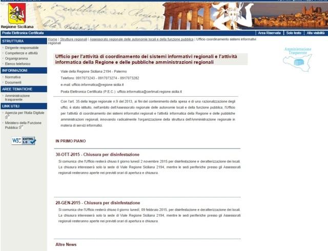 homepage ufficio coordinamento sistemi informativi regione sicilia
