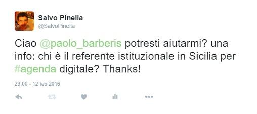 tweet a paolo barberis che non ha ottenuto alcuna risposta